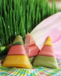 photo of homemade candy corn in pastel colors