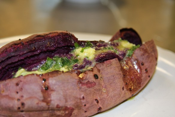 Roasted Purple Sweet Potato with Scallion Butter